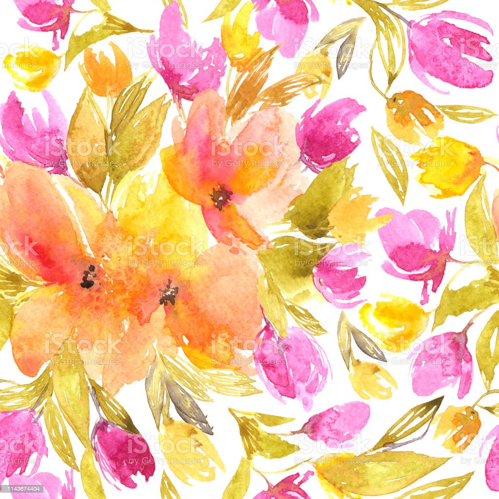 Seamless Floral Pattern Watercolor Flowers Floral Background With