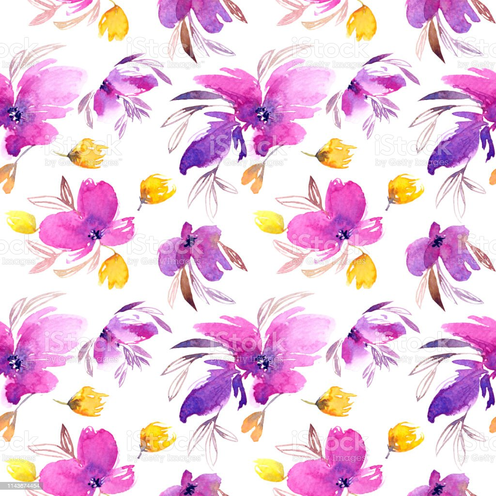 Seamless Floral Pattern Watercolor Purple Delicate Flowers Lovely