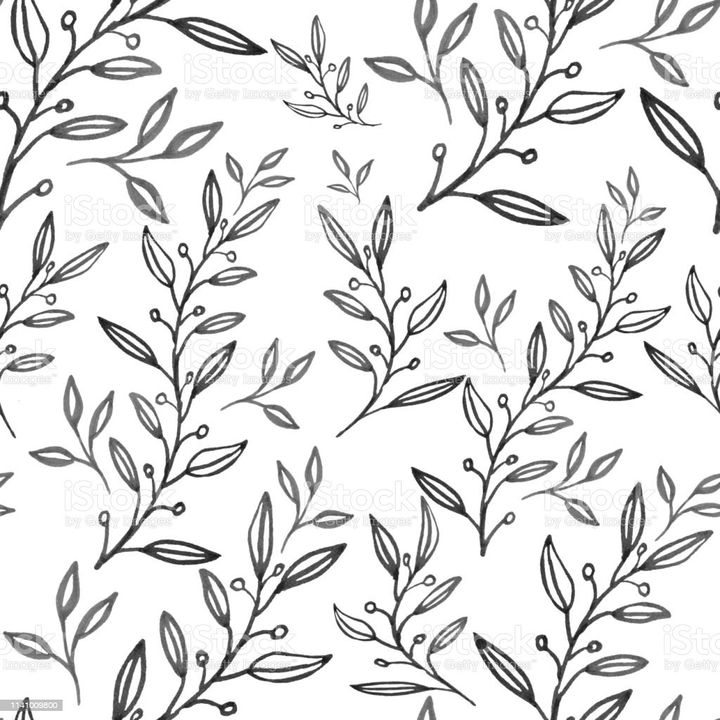Seamless Floral Pattern With Hand Drawn Leaves Can Be Used For