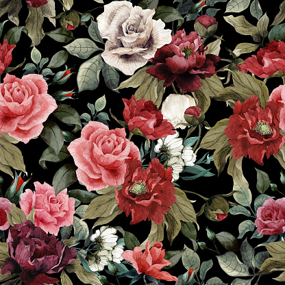 Seamless floral pattern with pink roses and peonies on dark background, watercolor