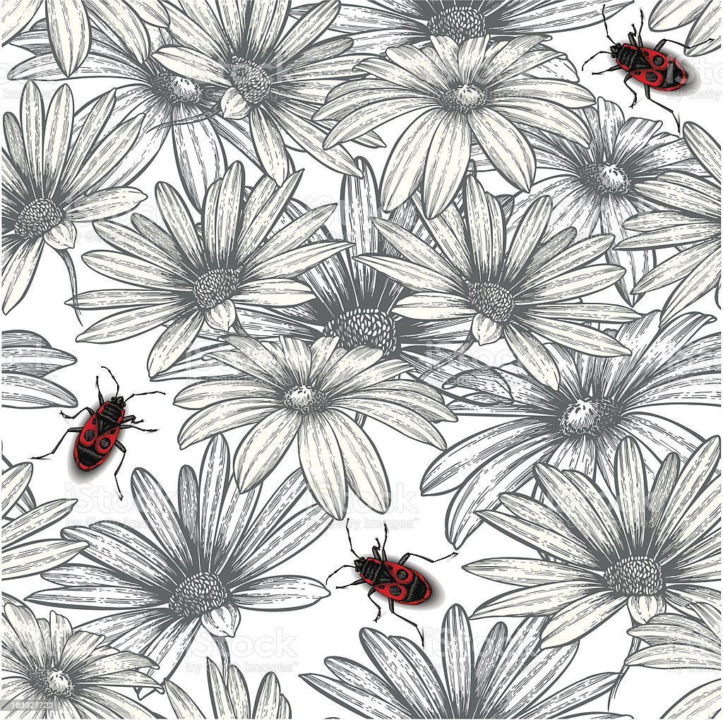 Seamless floral pattern with red beetles. Vector illustration. royalty-free stock vector art