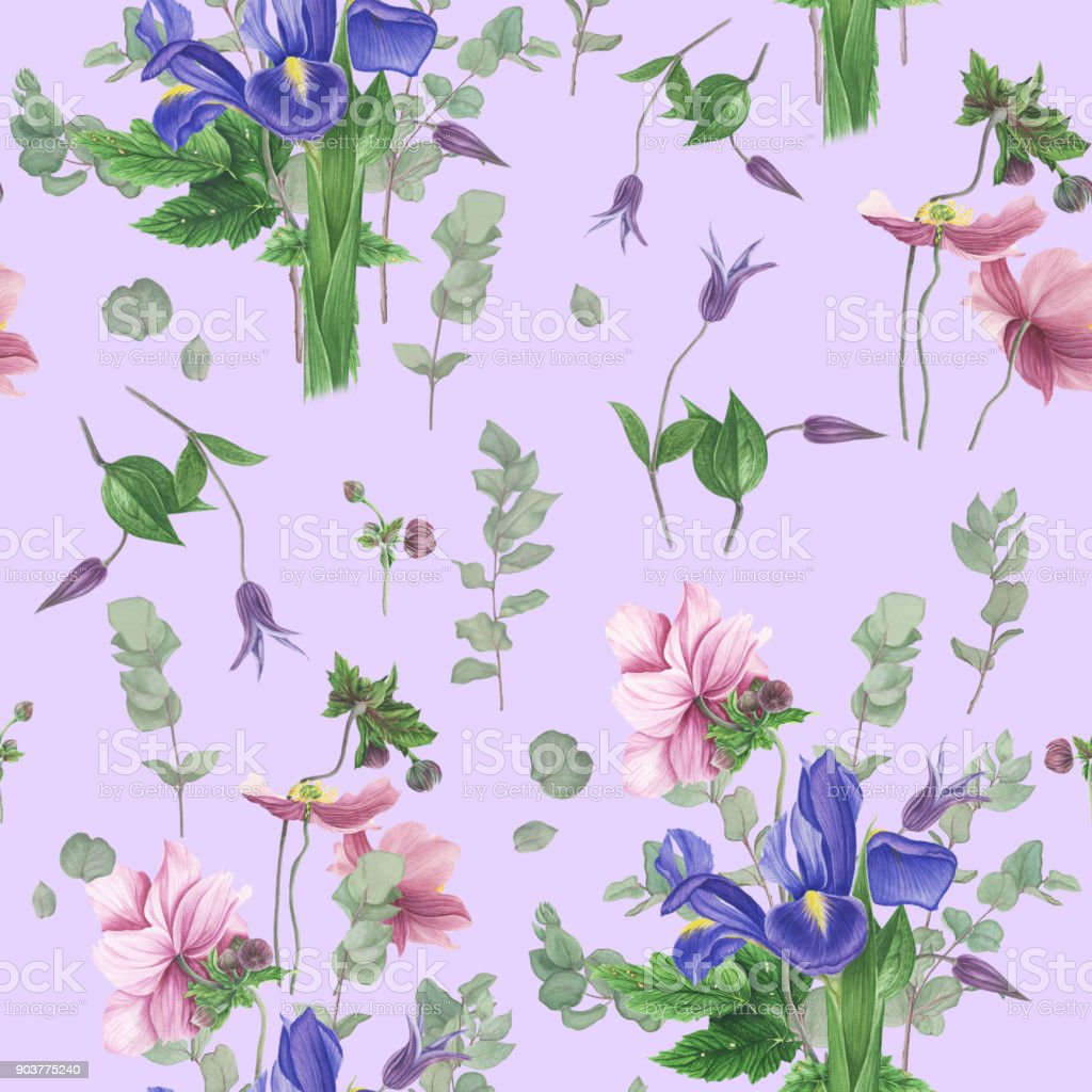 seamless floral pattern with spring flowers watercolor painting