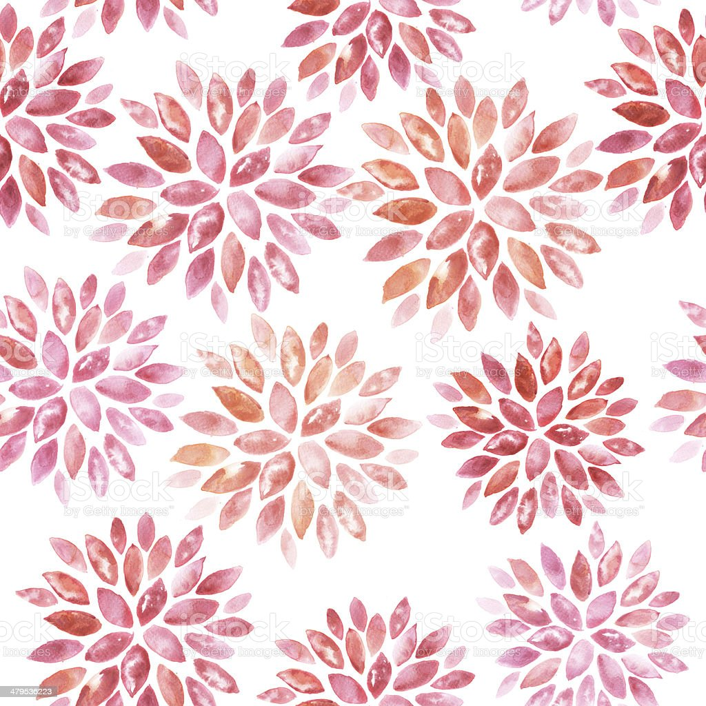 Seamless floral watercolor ornament vector art illustration