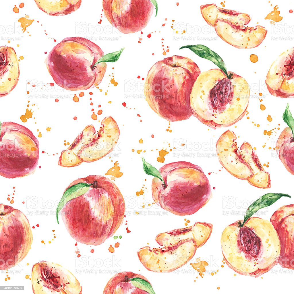 Seamless fruit pattern with Peach, Watercolor painting vector art illustration