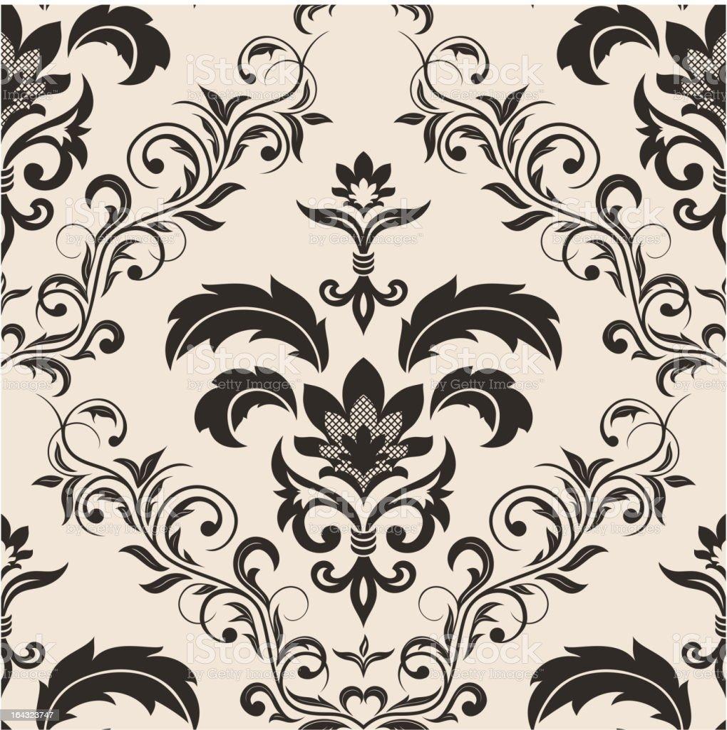 Seamless gothic floral wallpaper vector art illustration