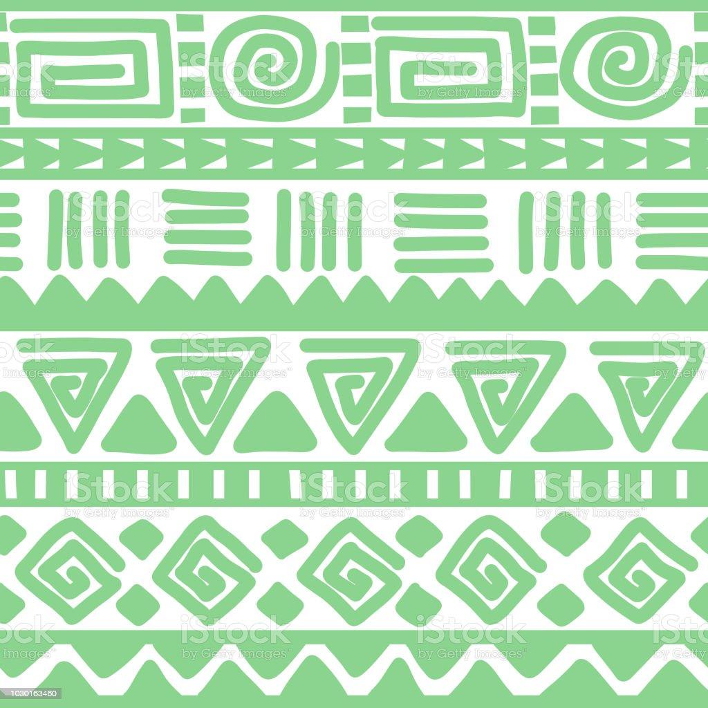 Sans Soudure Fond Geometrique Vert Et Blanc Tire De Main Ethnique