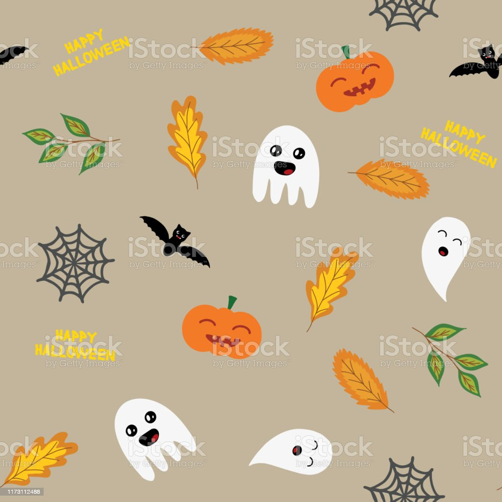 Seamless Halloween Background With Ghosts Pumpkin Spider Web And Autumn Leaves In Light Brown Raster Stock Illustration Download Image Now Istock