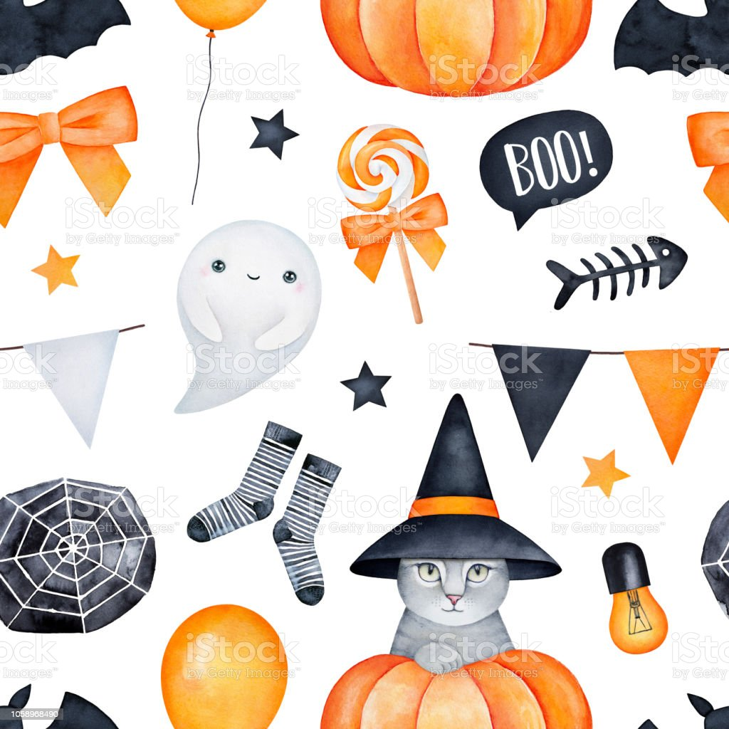 Halloween Thema.Naadloze Halloween Thema Patroon Oranje Gele Zwarte Kleuren