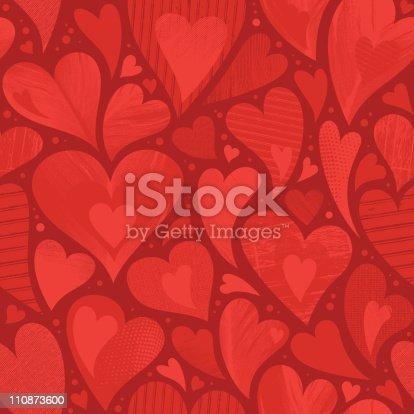 istock Seamless heart textured background 110873600