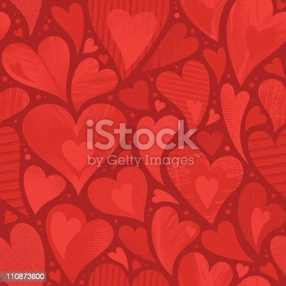 istock Seamless heart textured background 110873600