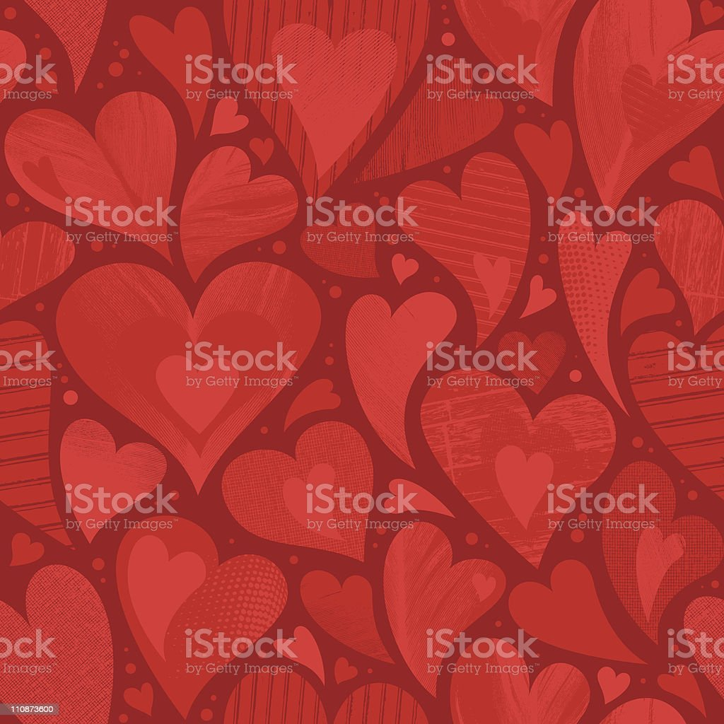 Fond coeur texturé sans couture - Illustration vectorielle