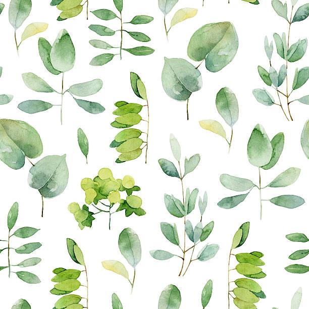 illustrazioni stock, clip art, cartoni animati e icone di tendenza di seamless pattern di erbe - mika