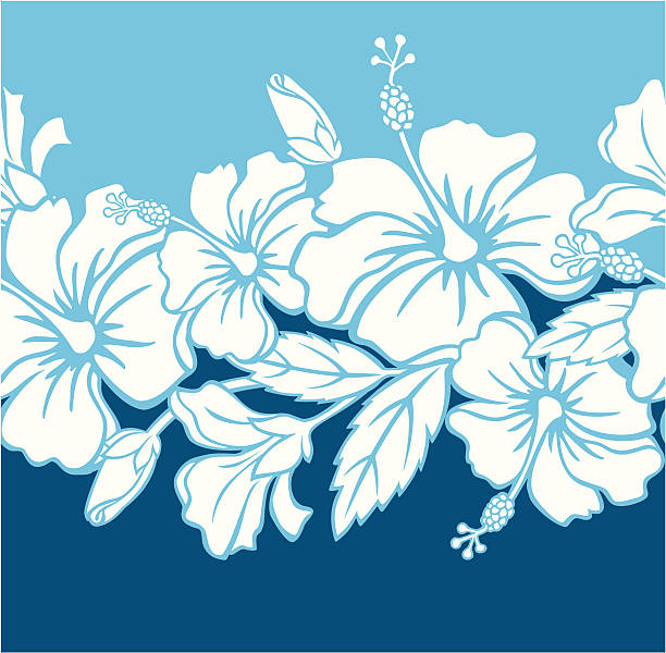 Seamless Hibiscus Hybrid Border/Pattern vector art illustration