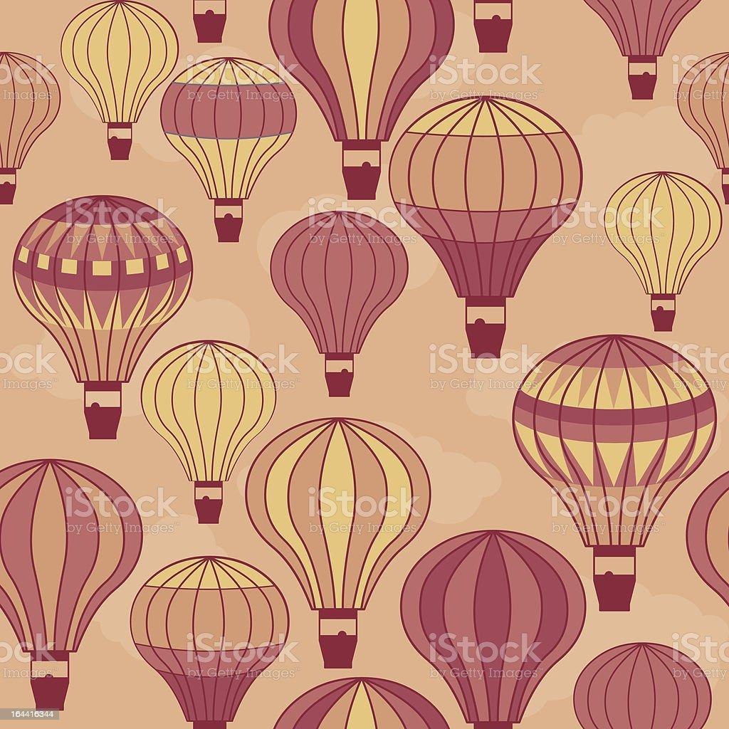 seamless hot air balloons vector art illustration