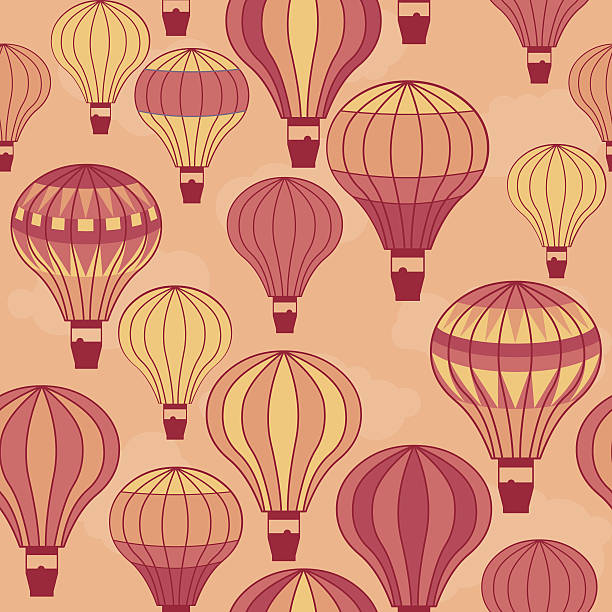seamless hot air balloons vector art illustration