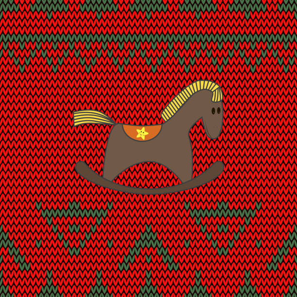 Vectores de Nordic Christmas Rocking Horses Seamless Pattern In ...