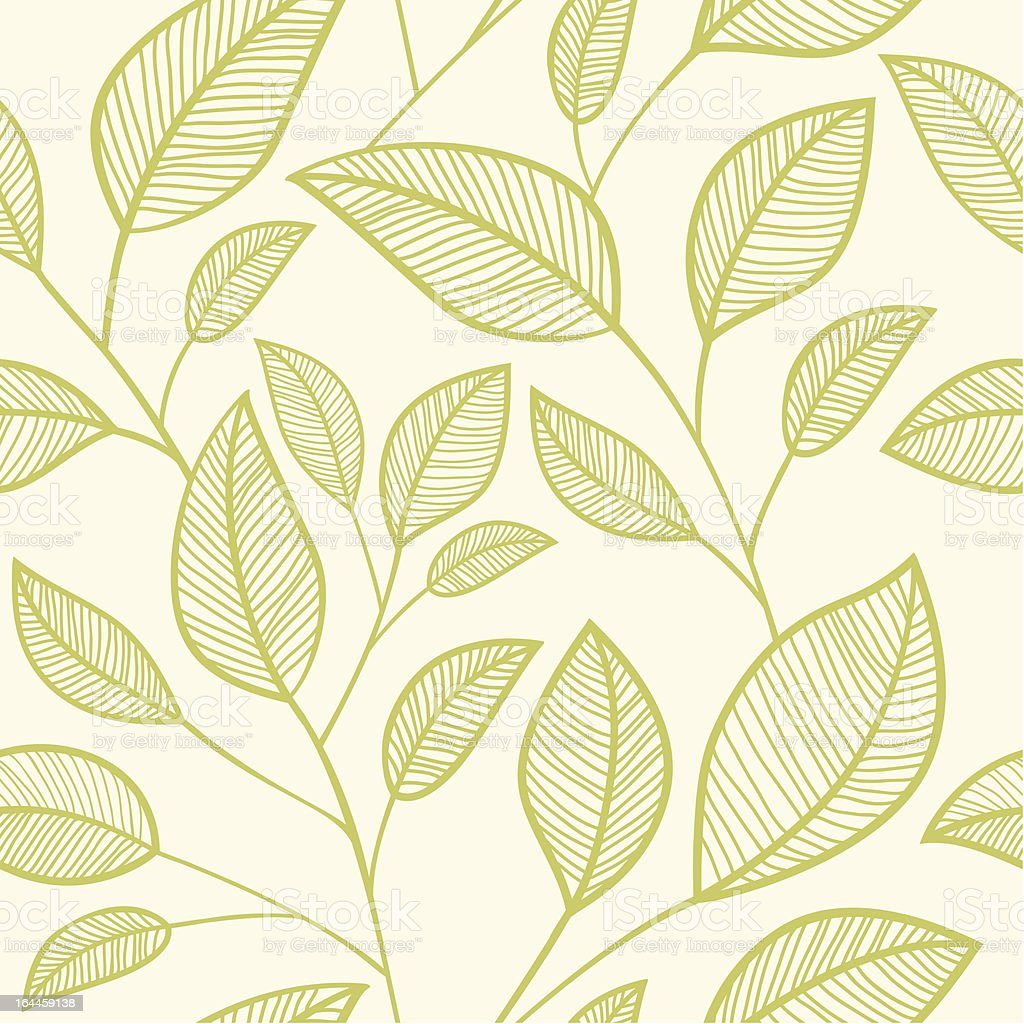 Seamless leaves background. Floral pattern royalty-free stock vector art