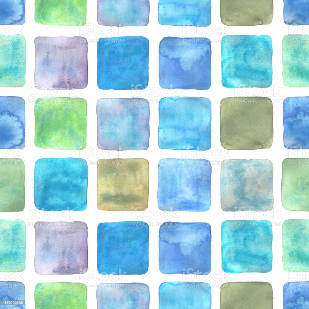 Seamless mosaic watercolor texture. Blue squares backdrop, geometric pattern. Shades of blue, turquois, purple, light green. Hand drawn watercolour gradient paint. vector art illustration