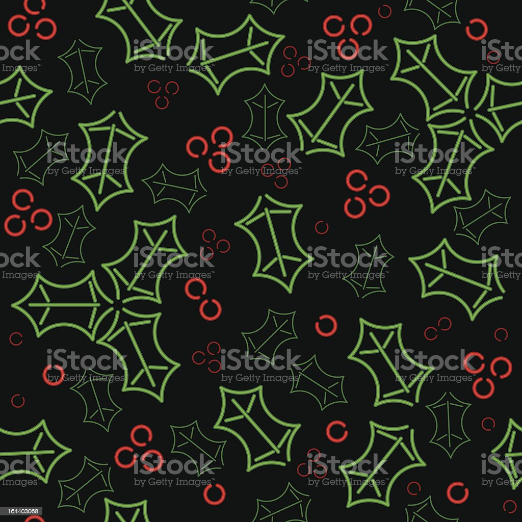 Seamless neon holly background royalty-free stock vector art