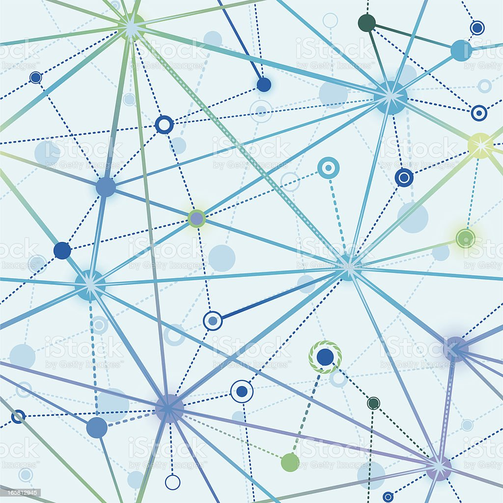 Seamless network of neurons in blue vector art illustration