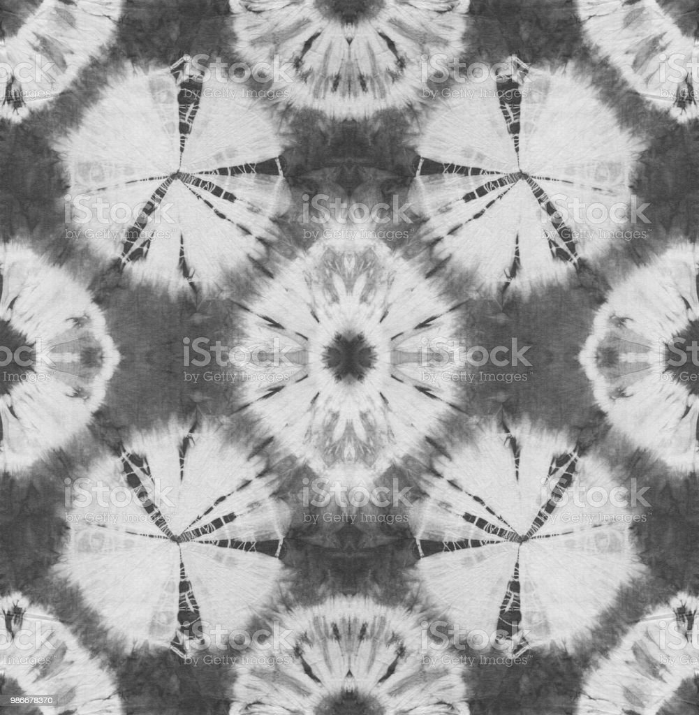 2d9d1d6a Seamless pattern, abstract tie dyed fabric of black color on white cotton.  - Illustration .