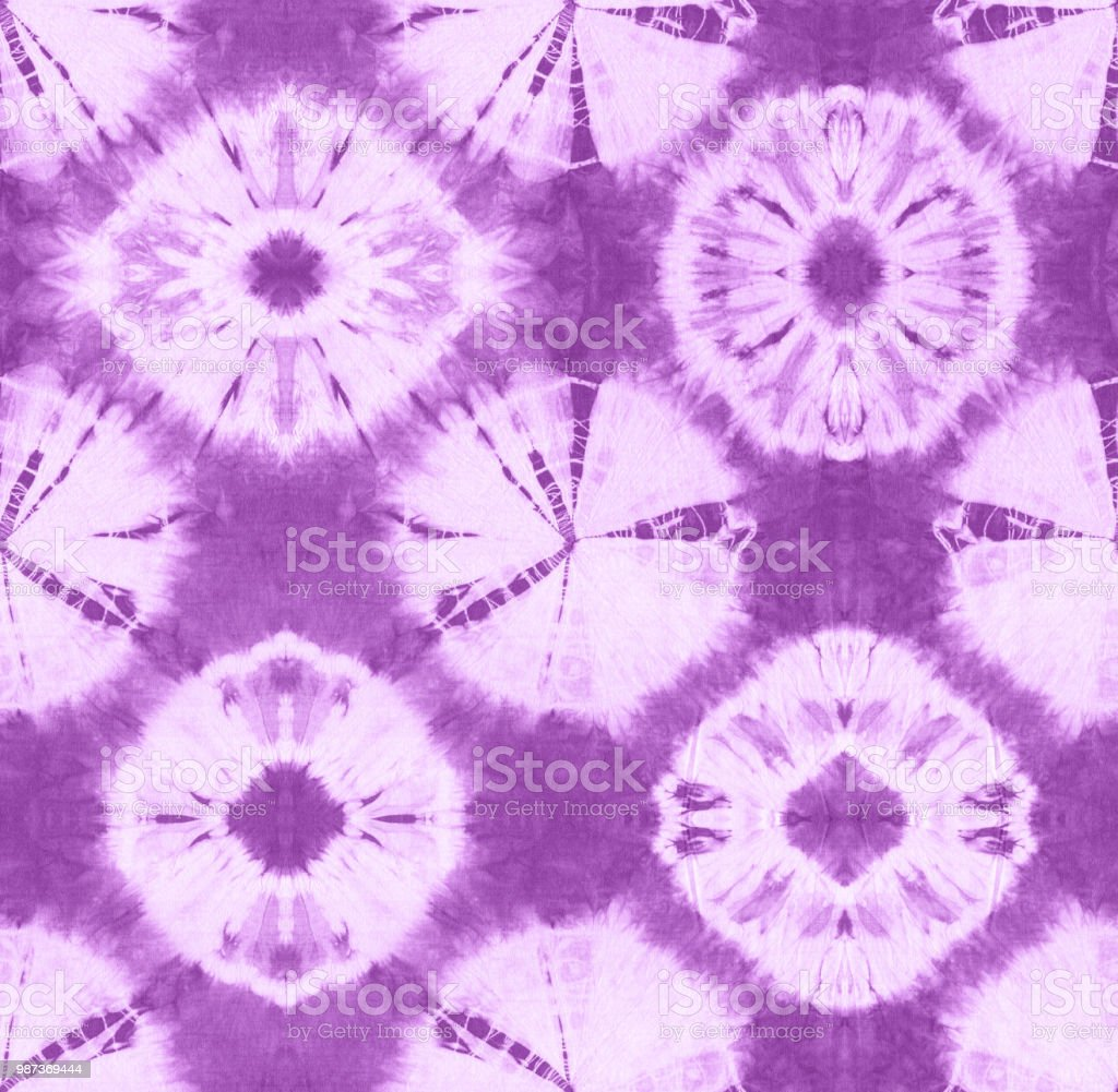 e87d26d6c165 Seamless pattern, abstract tie dyed fabric of violet color on white cotton.  - Illustration .