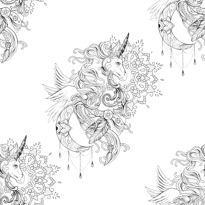Seamless Pattern Beautiful Pegasus In Ornament With