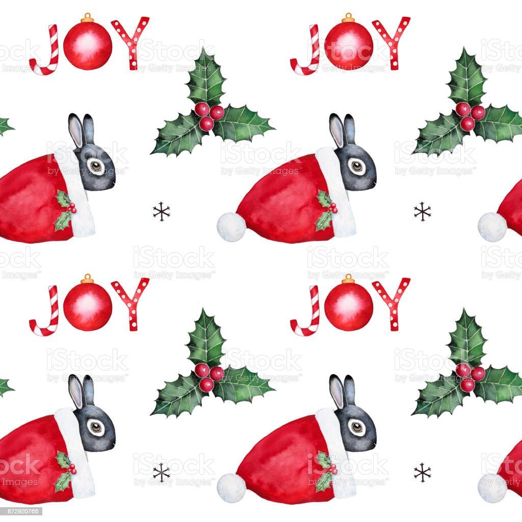 Sans couture modélisme avec lapin mignon, rouge chapeau de Santa Claus, feuilles de houx et baies, des lettres de joie, divers éléments et symboles de Noël. Couleur vacances lumineux. - Illustration vectorielle