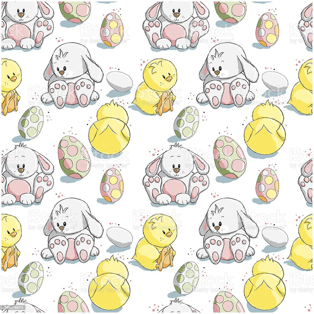 Seamless pattern - Easter eggs, bunnies and chicks royalty-free seamless pattern easter eggs bunnies and chicks stock vector art & more images of animal