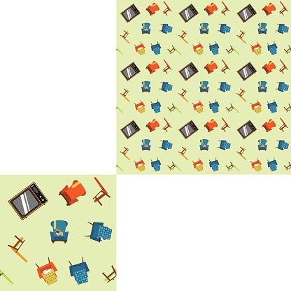 Seamless pattern elements of furniture, equipment and pets with pattern unit.