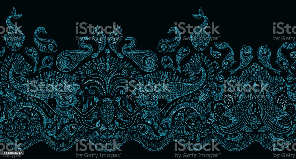 Nahtlose Muster Fantasy Meerjungfrau Tintenfisch Fisch Meer Tiere