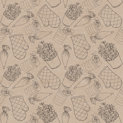 Seamless pattern for a pastry shop on a craft background with contour illustrations potholders, pastry bag, mint pot, cake