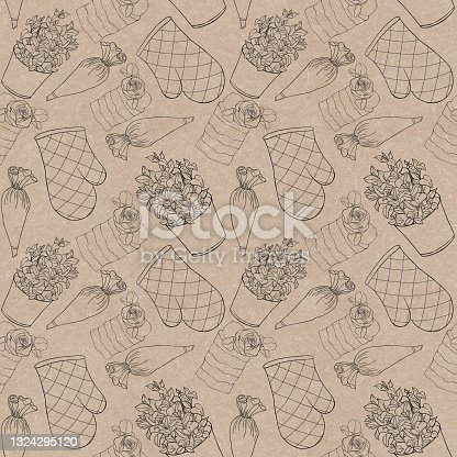 istock Seamless pattern for a pastry shop on a craft background with contour illustrations potholders, pastry bag, mint pot, cake 1324295120