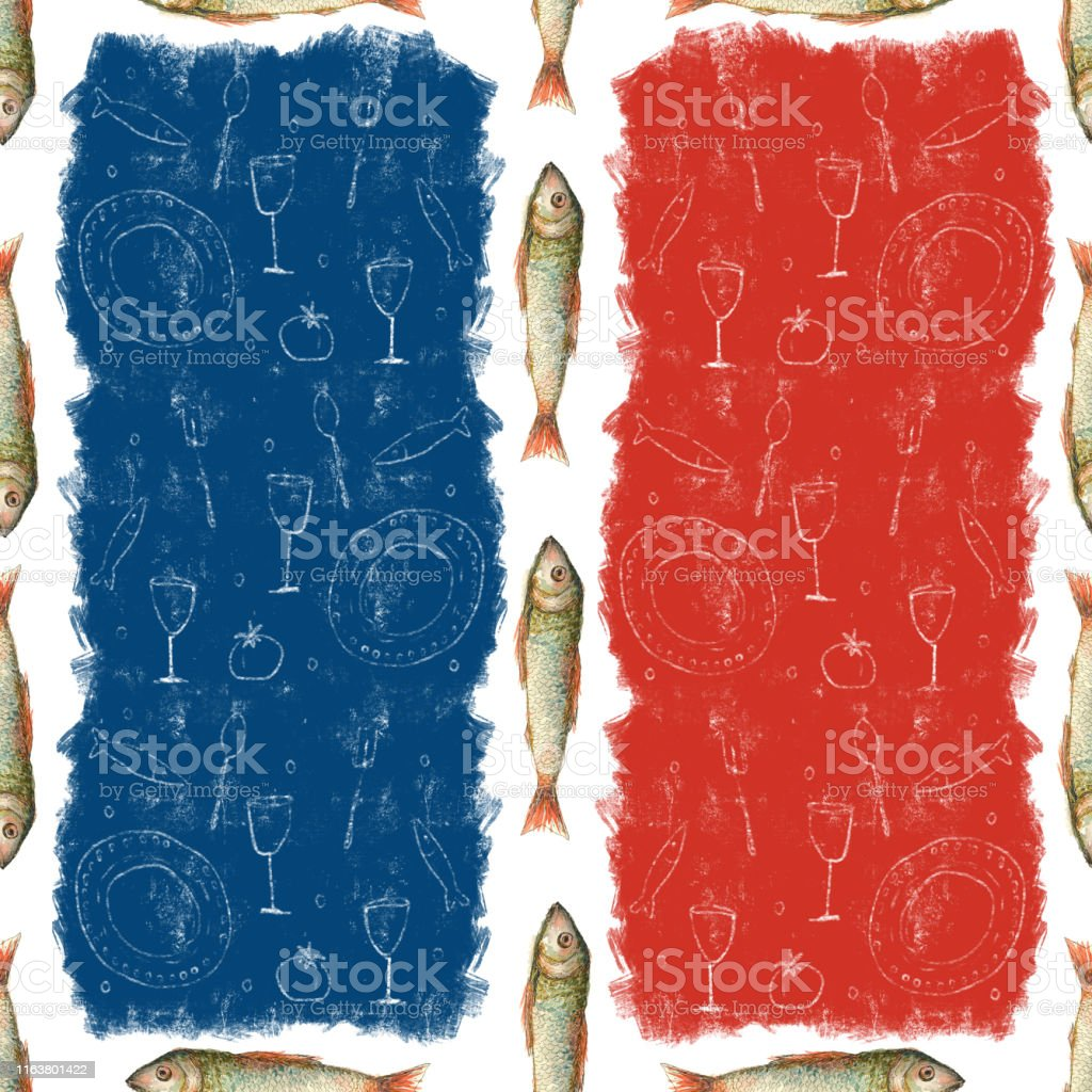 Seamless pattern with fish, watercolor illustration of fish and food...