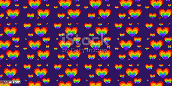 istock Seamless pattern for valentine's day. Rainbow hearts. Lgbt 1296490505