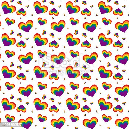 istock Seamless pattern for valentine's day. Rainbow hearts. Lgbt 1296490527
