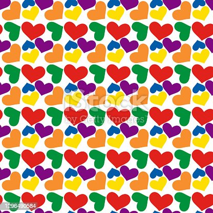 istock Seamless pattern for valentine's day. Rainbow hearts. Lgbt 1296490584