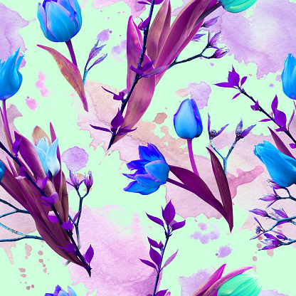 Seamless pattern from blue tulips
