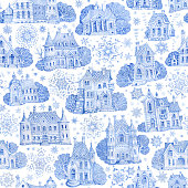 Seamless pattern from fantasy buildings with Christmas star and snowflakes. Hand painted blue watercolor fairy tale old town houses isolated on a white background. Winter landscape wallpaper, wrapping paper