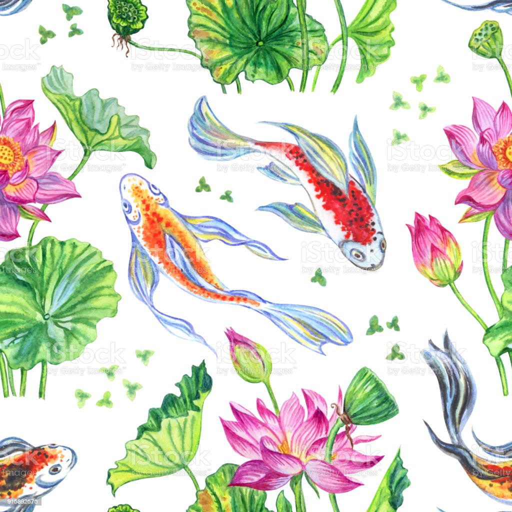Seamless pattern from lotus and fish royalty free seamless pattern from lotus and fish