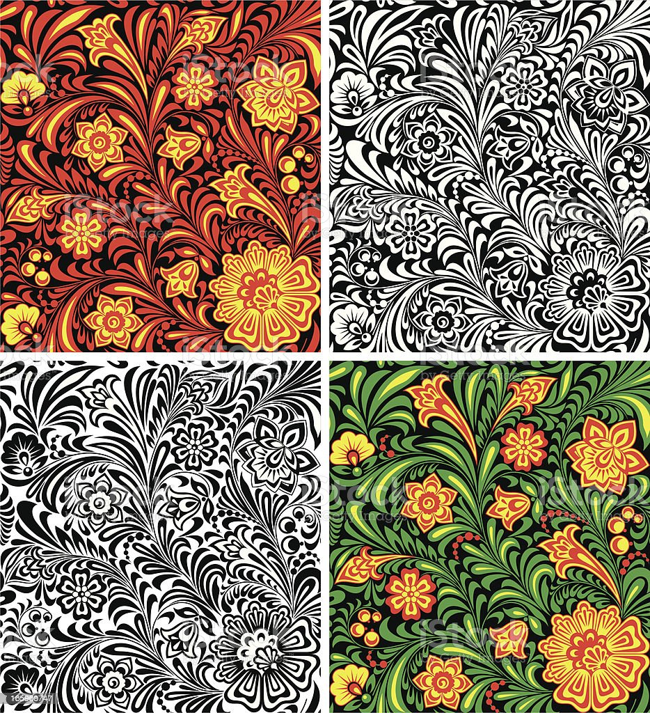 Seamless Pattern in Khokhloma Style royalty-free stock vector art