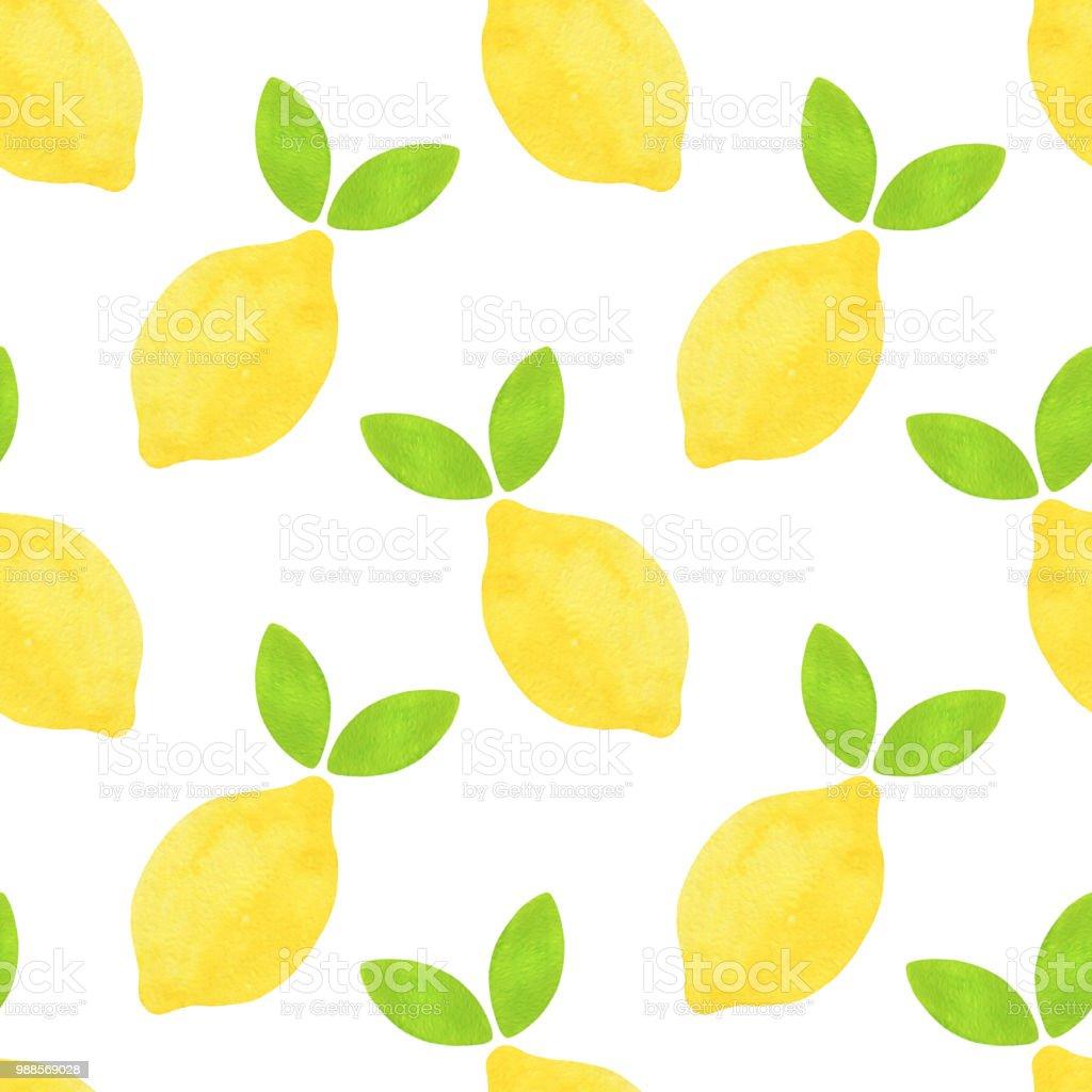 手描き水彩レモンと緑の葉が白い背景で隔離のシームレスなパターン
