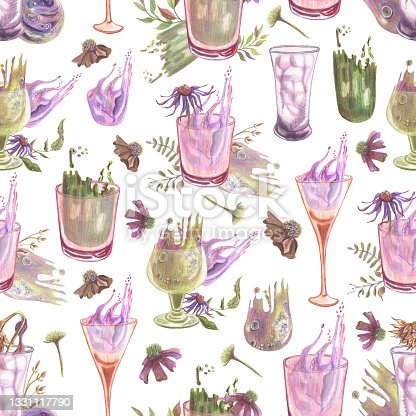 istock Seamless pattern of arrangements with vial, drinking glasses, dried branches, flowers and abstract spots made in the technique of colored pencils. Hand drawn. 1331117790