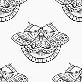 Seamless pattern of beautiful butterfly in a circle on a white background.