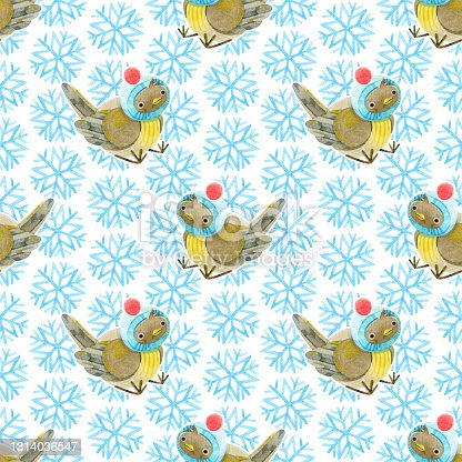 istock Seamless pattern of cute baby sparrows and snowflakes. Light background with blue snowflakes. Christmas pattern. Hand-drawn watercolor illustrations on a white background. For textile, wrapping. 1314036547
