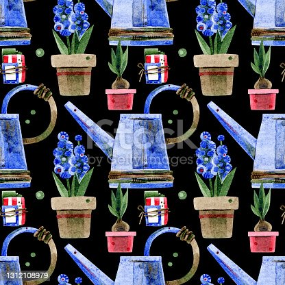 istock A seamless pattern of flower pots with tulips and hyacinths, a pack of seeds and a metal watering can. Hand-drawn watercolor illustrations on a black background. For flower market, fabric, packaging. 1312108979