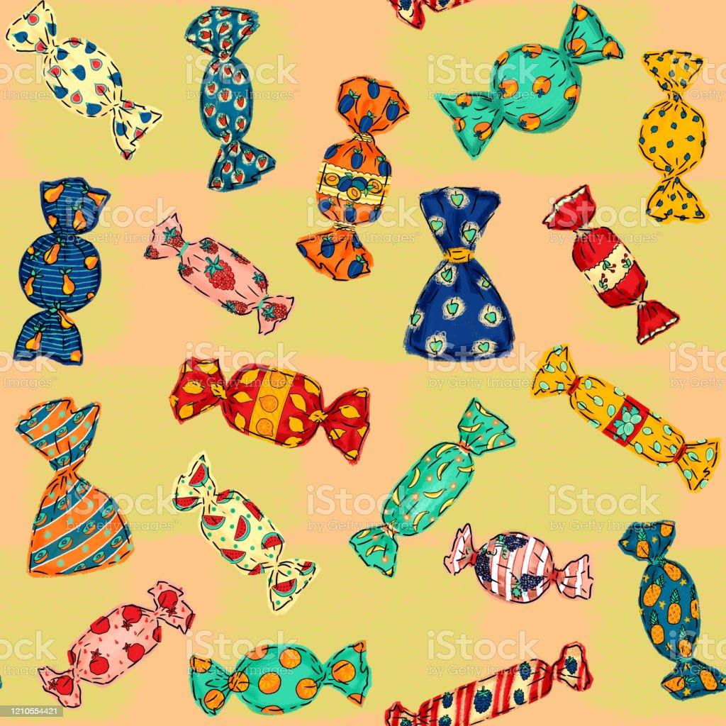 Seamless Pattern Of Fruit Candy With Bright Wrapping For Fabric Gifts Paper Scrapbooking And Design Stock Illustration Download Image Now Istock