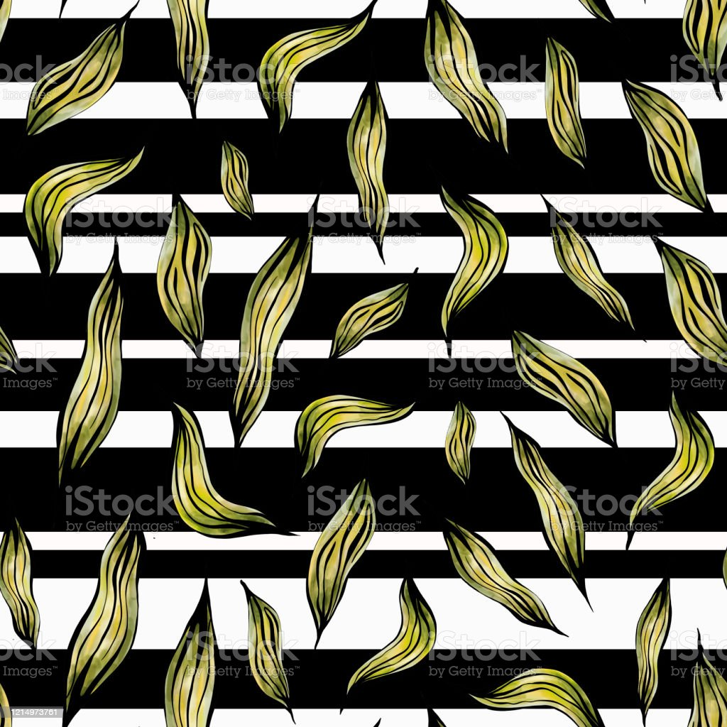 Seamless Pattern Of Golden Leaves On A Black And White Striped Background Stock Illustration Download Image Now Istock