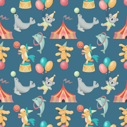 Seamless pattern of hand drawn circus animals (dog, horse, coala, seal), illustration on blue background