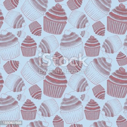 istock Seamless pattern of linear illustrations of cupcakes with cherries on a delicate bed blue background 1330807555